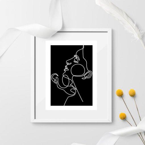 Plakat czarno-biały z rysunkiem ludzi