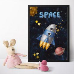Plakat dla dzieci przestrzeń kosmiczna i rakieta