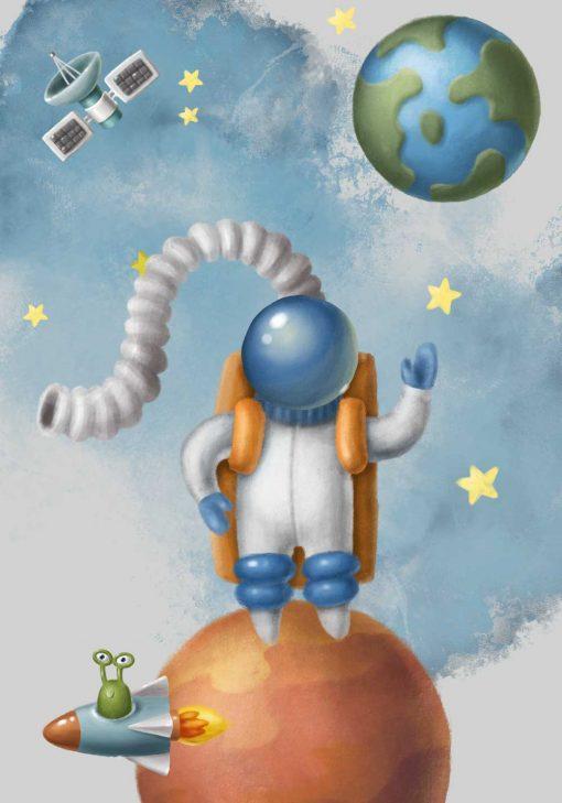 Plakat dla dziecka z astronautą w kosmosie