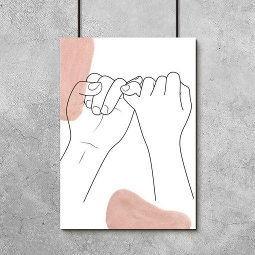 Plakat dłonie w one color
