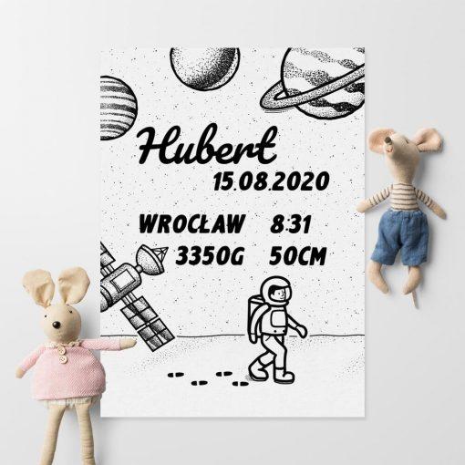 Plakat imienny z datą urodzenia Huberta do jego pokoju