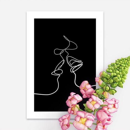 Plakat line art pocałunek do powieszenia w sypialni