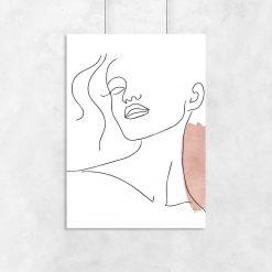 Plakat minimalistyczny one color z portretem kobiety