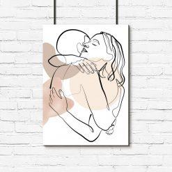 Plakat one color z zarysem ludzkich kształtów