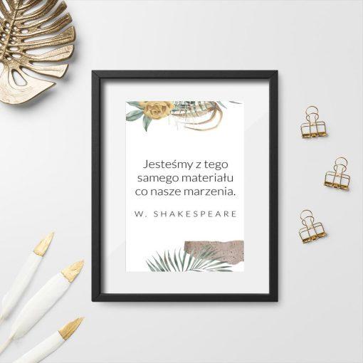 Plakat pionowy cytat Szekspira