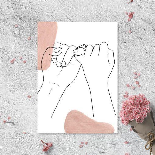 Plakat splecione ręce line art