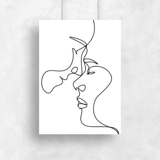 Plakat w stylu minimalistycznym ze szkicem twarzy
