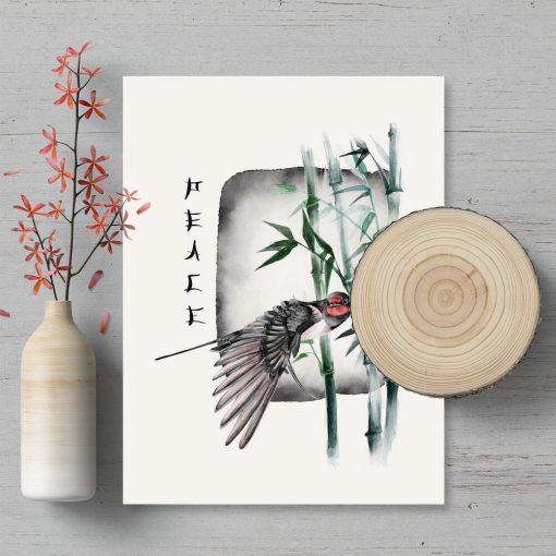 Plakat z bambusem i ptakiem