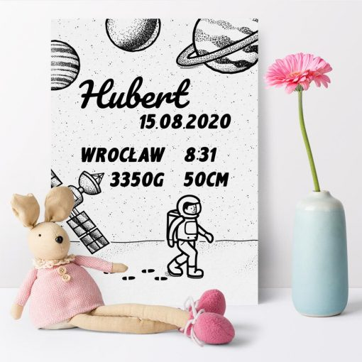 Plakat z danymi urodzeniowymi dziecka do jego pokoju