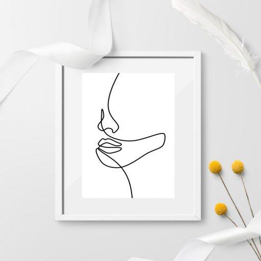 Plakat z dziewczęca twarz - line art