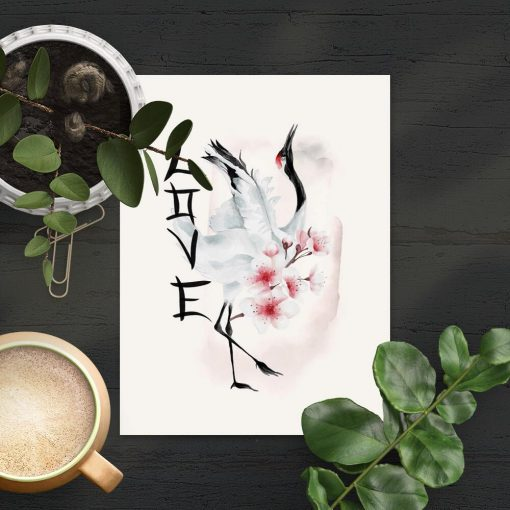 Plakat z japońskimi elementami do oprawienia w ramę