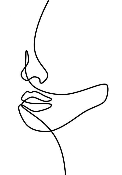 Plakat z kobiecym liczkiem