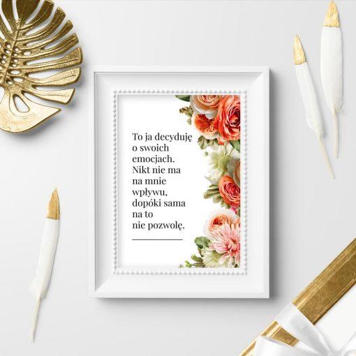 Plakat z kwiatami i sentencją do ozdoby salonu