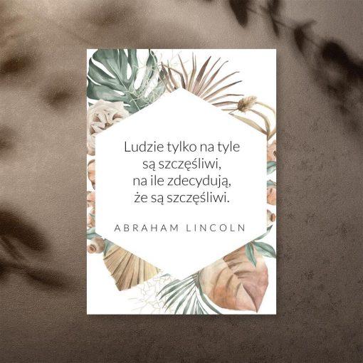 Plakat z maksymą Lincolna o szczęściu