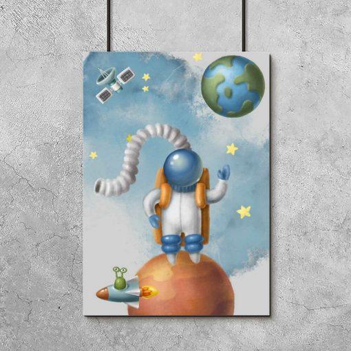 Plakat z Marsem i Ziemią
