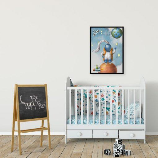Plakat z motywem astronauty na Marsie
