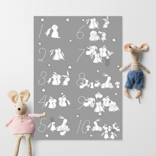 Plakat z motywem króliczków i cyferek