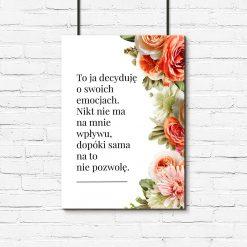 Plakat z motywem kwiatów i typografii