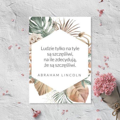 Plakat z motywem maksymy o szczęściu A. Lincolna