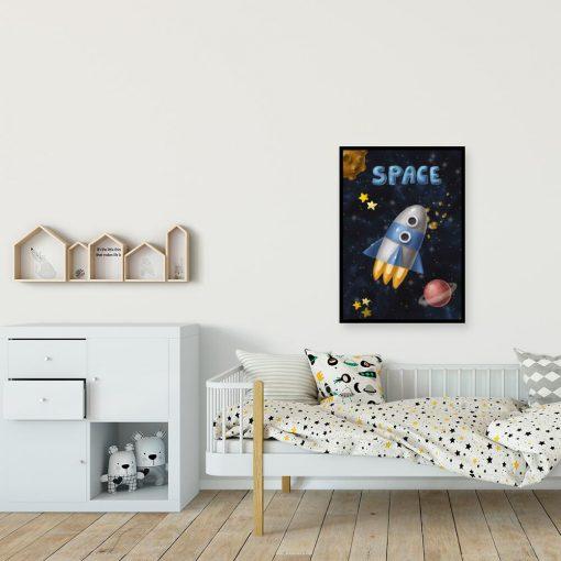 Plakat z motywem rakiety kosmicznej w przestrzeni kosmicznej
