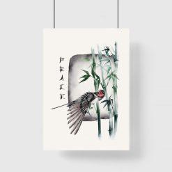 Plakat z ptakiem i bambusami