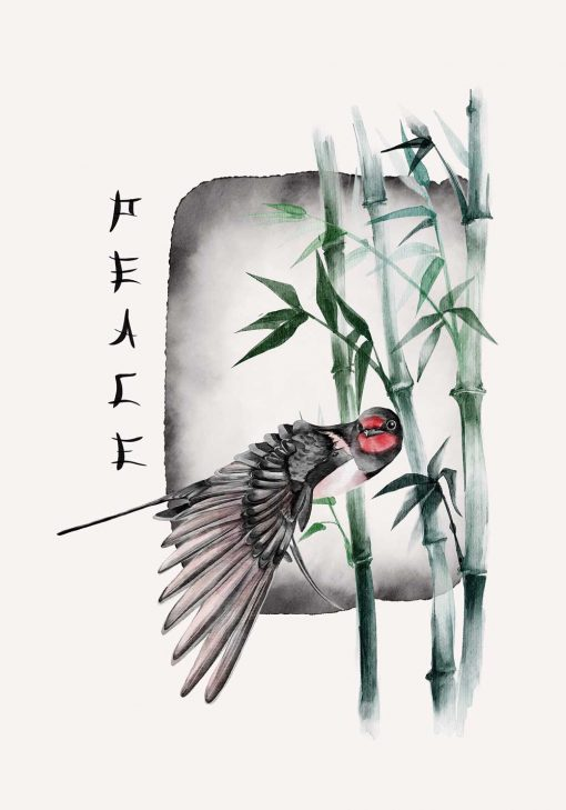 Plakat z ptaszkiem na tle bambusów