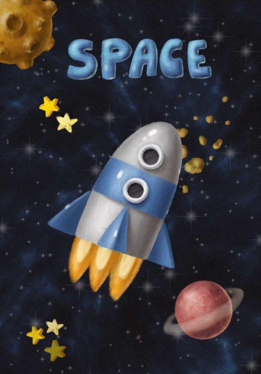 Plakat z rakietą kosmiczną w kosmosie