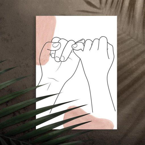 Plakat z symbolem braterstwa - splecione palce