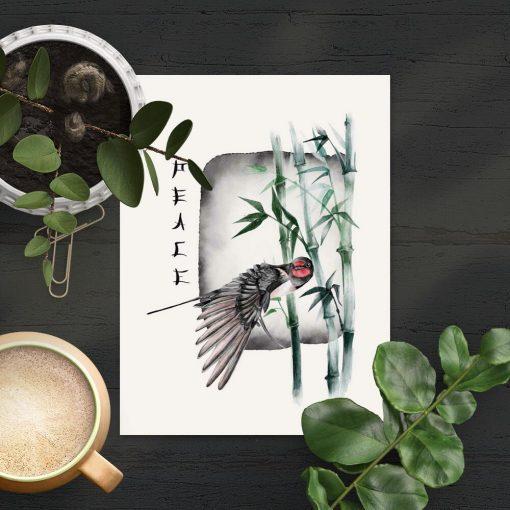 Plakat z typografią i ptaszkiem
