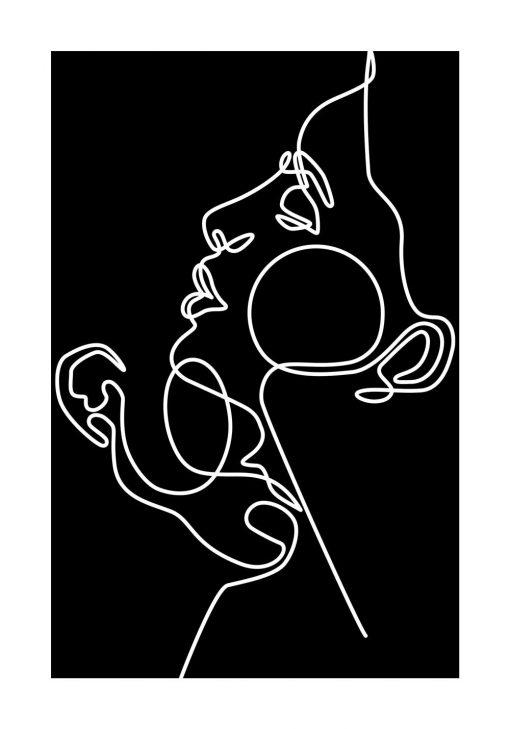 Plakat z zakochanymi w kolorach czarno-białych