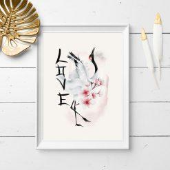 Plakat z żurawiem i kwiatami wiśni