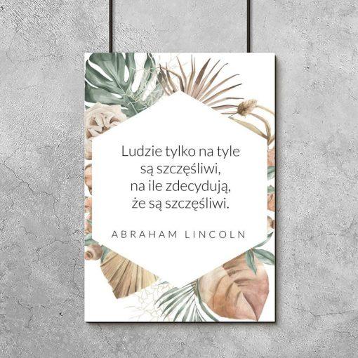 Plakat ze słowami Lincolna w pastelowych kolorach