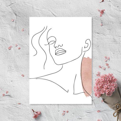 Plakat ze szkicem twarzy - minimalizm