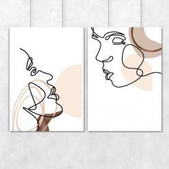 Plakaty dwa z motywem pocałunku do powieszenia w sypialni