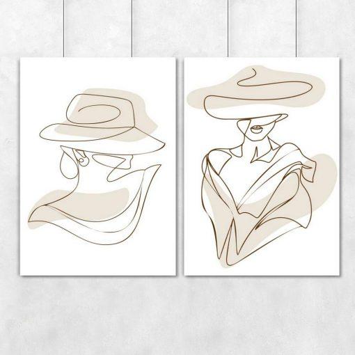 Podwójny plakat z kobietą - one color