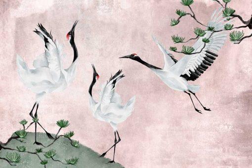 Foto-tapeta z trzema żurawiami w różowej tonacji