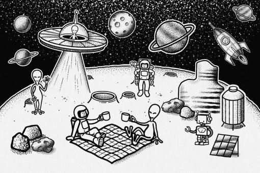 Fototapeta astronauci i Marsjanie