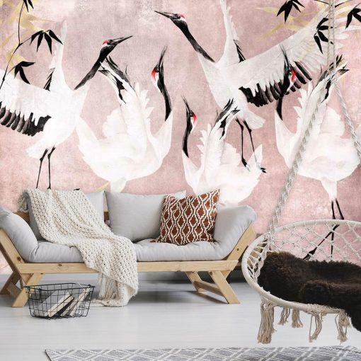Fototapeta grupa ptaków na różowym tle