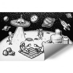 Tapeta z astronautami do ozdobienia pokoju dziecka