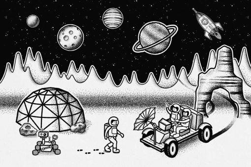 Tapeta z księżycem i stacją badawczą