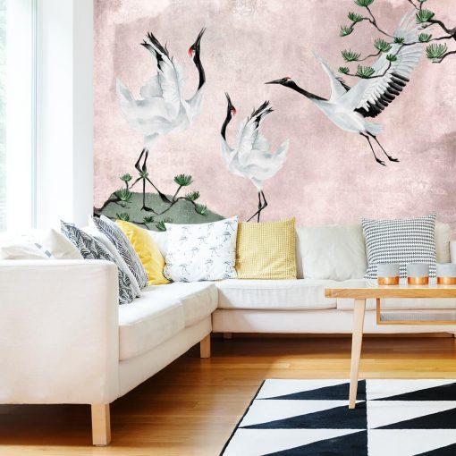 Tapeta z ptakami i sosną do dekoracji salonu