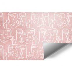 Tapeta z rysunkami twarzy w różowej tonacji