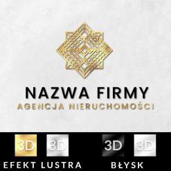 Agencja nieruchomości - logotyp 3d i ornamentyczny kwadrat