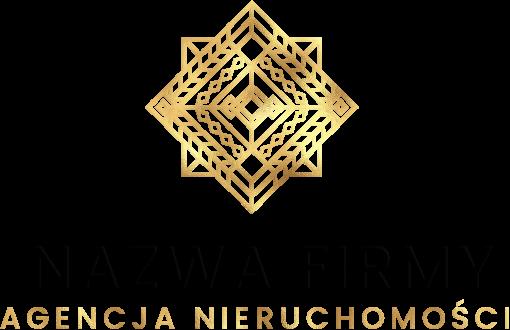 Kwadratowy ornament i znak firmowy - agencja nieruchomości