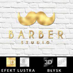 Logotyp 3d w kolorze złota do barbera