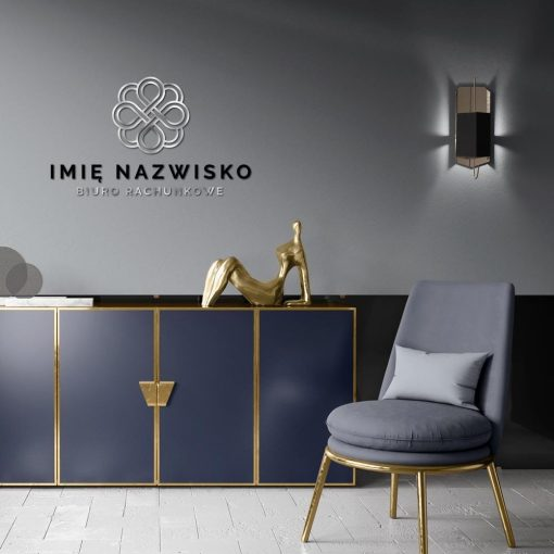 Trójwymiarowa dekoracja z logotypem i ornamentem dla biura rachunkowego