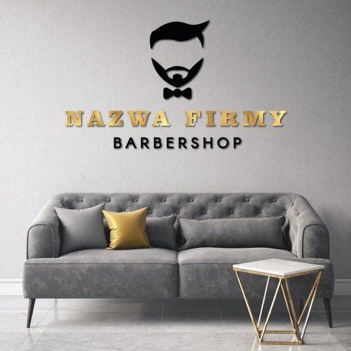 Trójwymiarowy logotyp dla barbera z muszką