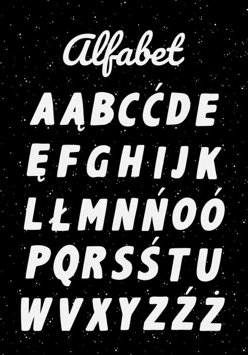 Czarno-biały plakat z literkami