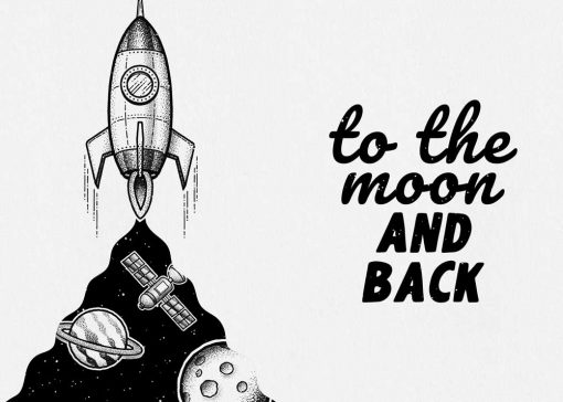 Dyptyk z maksymą: to the moon and back