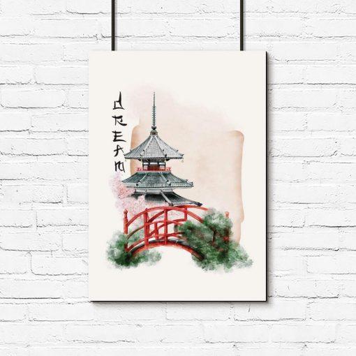 Plakat japoński ogród do powieszenia w sypialni